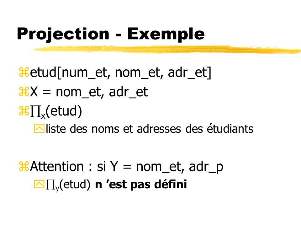 Projection - Exemple etud[num_et, nom_et, adr_et] X = nom_et, adr_et